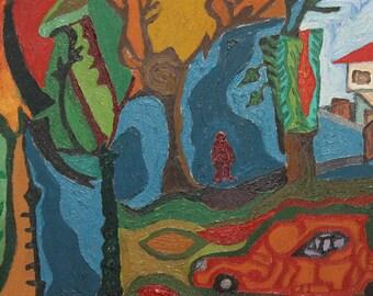Avant garde oil painting landscape