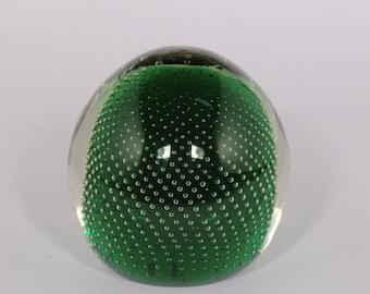 Czech Bohemian Art Glass Green Paperweight with Bubbles