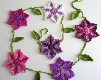PDF Crochet Pattern for 'Clematis' Garland Bunting