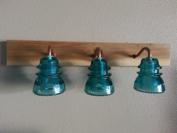 24 Vintage Insulator Vanity 3 Light by recreatedlighting on Etsy