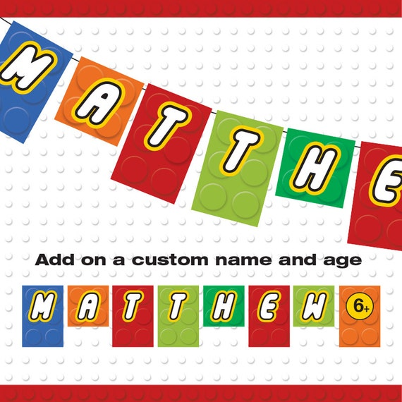 Building Block Birthday Banner Custom Name Birthday Banner
