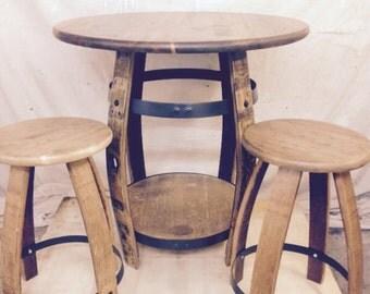 Wine Barrel Pub Table and 2 Stools Golden Oak Pine Top