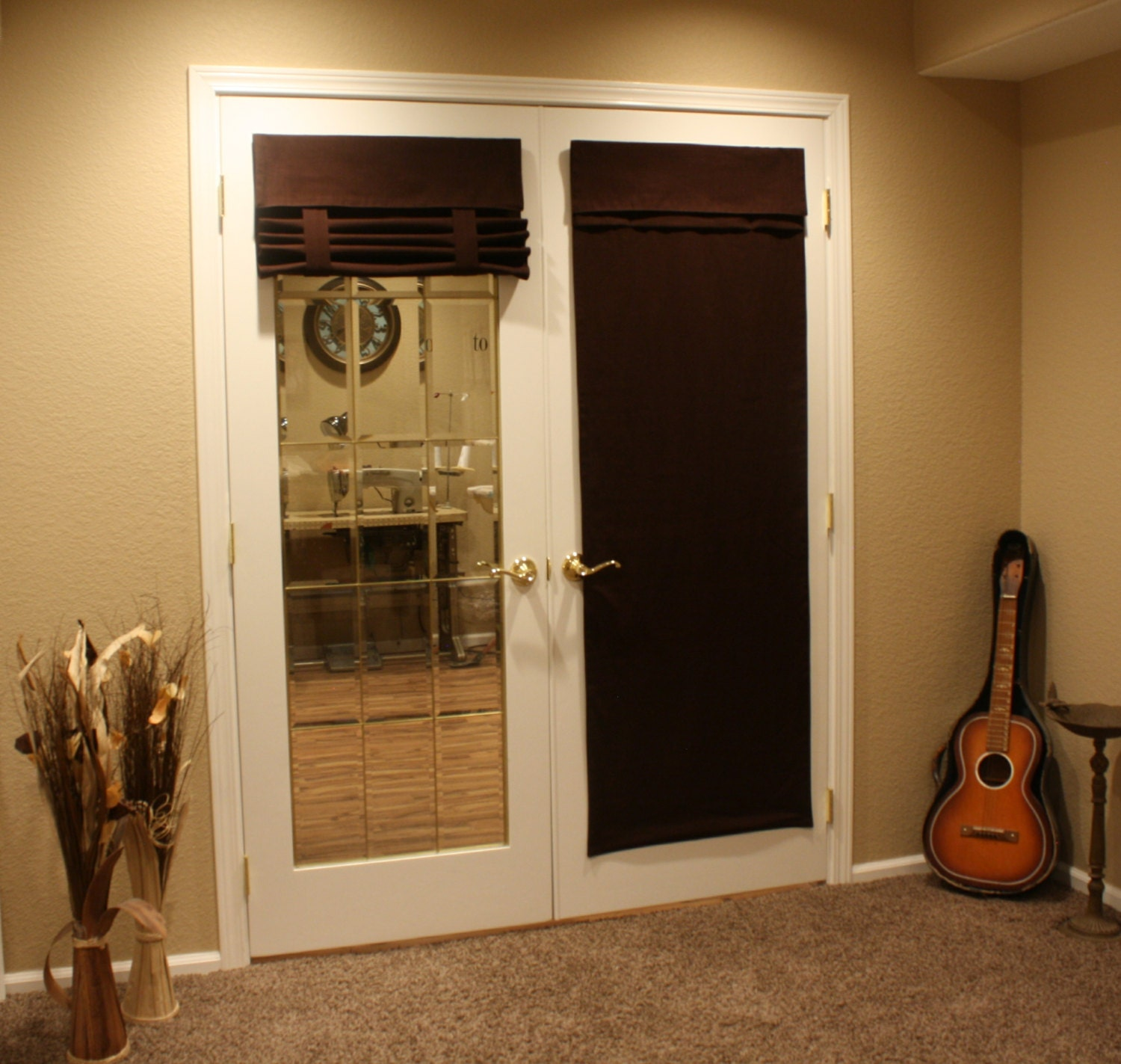 brown french door curtain