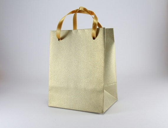 Small Wedding Gift Bags: 100 Extra Small Gift Bags Handmade Of Gold Leaf Paper With