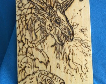 Wooden Magnet-Woodburned Dragon