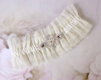 Cotton tulle bridal garter, wedding cotton garter, Ivory cotton garter