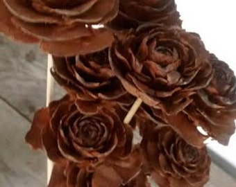 "Pinecone Cedar Rose Stems  (10 stems) 12"" long - Perfect For Rustic Country Weddings"