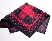 Vintage Rockabilly Handkerchief - Red and Black - Retro Hanky