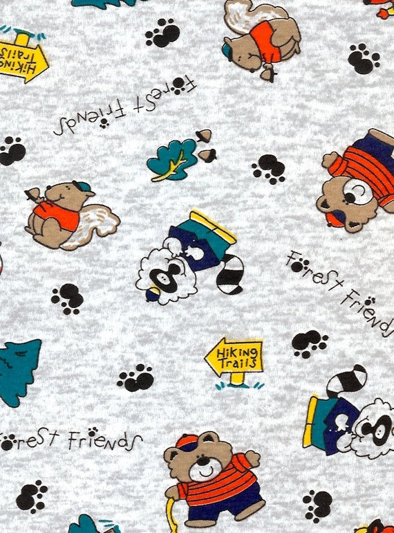 Items similar to cotton poly knit fabric baby interlock for Knit fabric childrens prints