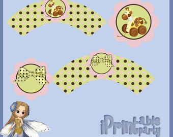 Baby Shower Printable Game Baby Stuff Pink Cupcake Wrapper & Topper