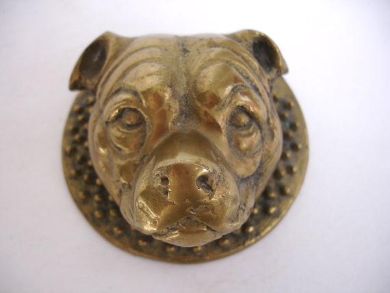 Staffordshire bull terrier bull dog brass door knocker antique - Bulldog door knocker ...