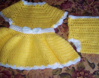 Handmade crocheted yellow  baby dress and diaper cover 2 piece ensemble size 0-6 months makes a great gift for your baby or any new mom