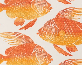 ODL Fish Orange, Indoor Outdoor Fabric, Fabric By The Yard, P.Kaufman Fabrics