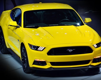 Ford New Mustang 5.0 Front Yellow HD Poster Modern Muscle Car Print