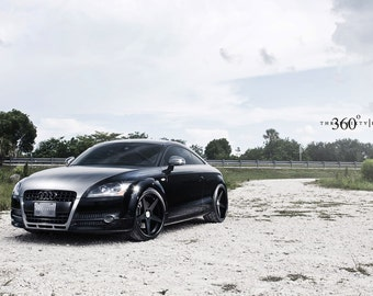 Poster of Audi TT Left Front  Black on 360 Forged wheels HD print