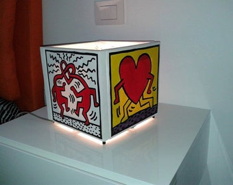 Hand painted lamp, handmade, 100% made in Italy.