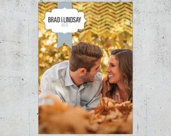 Shabby Chic Chevron Wedding Invitation | Printable DIY | Color Customizable