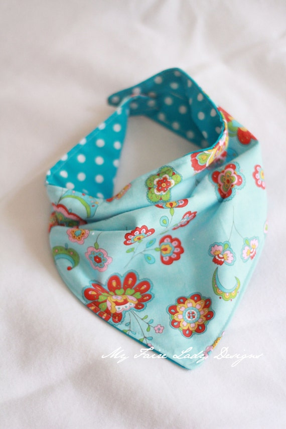 Reversible Bandana Bib for Baby, Aqua Floral and Polka Dot, Turquoise