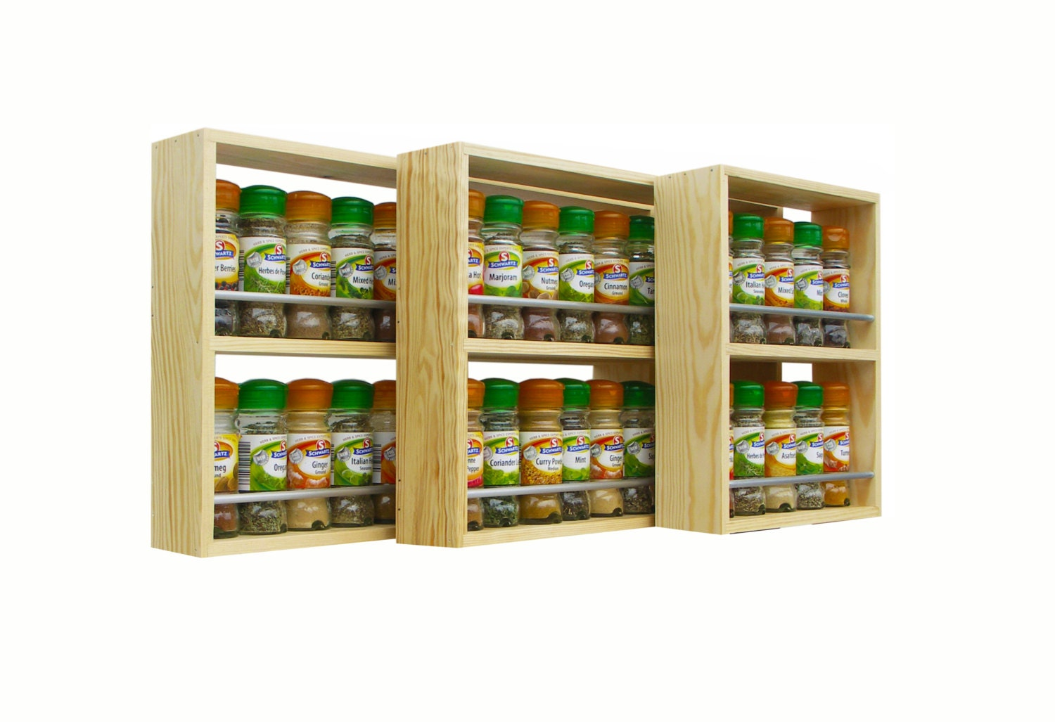 Solid Pine Spice Rack Contemporary Style 2 Shelves