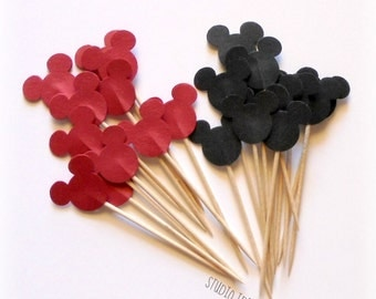 24  Black  & Red Mickey Head double-sided Cupcake Toppers, Food Picks or CHOOSE YOUR COLORS - Set of 24 pcs