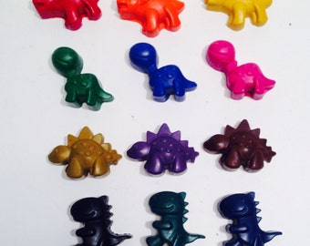 Dinosaur crayons. Party favours. Kids crafts. Sets of 12