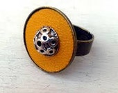 Yellow leather adjustable ring. adjustable ring boho style