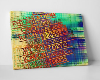 Abstract City Names I. Gallery Wrapped Canvas Print