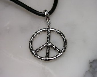 Peace Flower Power Silver pendant necklace Charm