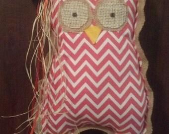 Hand Sewn Burlap and Chevron Owl Door Hangers