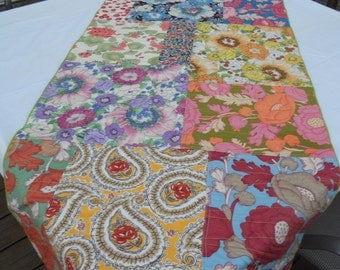 "Multicolored patchwork tablecloth, cotton patchwork tablecloth. 24"" x 56"" table runner, ready to ship"
