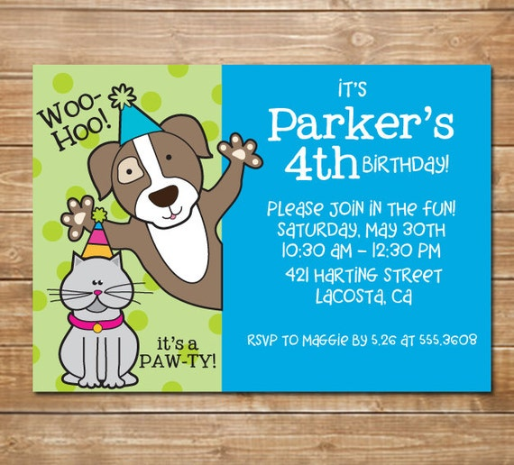 Pet Party Humane Society Invitation Animal Party Cat And