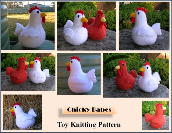 Chicken Toy Knitting Pattern Chicky Babes