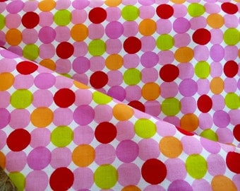 1.25 yards Polka Dot Cotton Fabric by the Yard, Colored Polka Dots, Cotton Yardage, Yardage