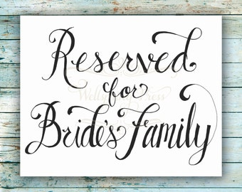 Reserved for Bridesmaids Wedding Table Sign DIY Printable