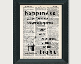 Harry Potter Print Dumbledore Quote Happiness Can Be Found Typography Dictionary Art Print
