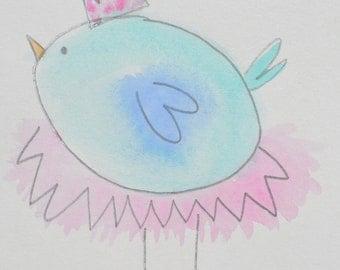 Watercolor Princess Birdie