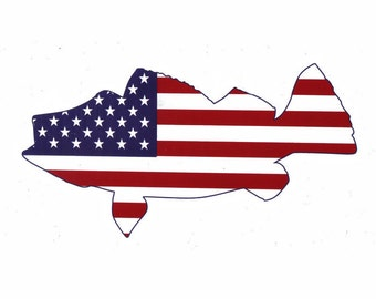 Popular items for america flag decal on etsy for American flag fish