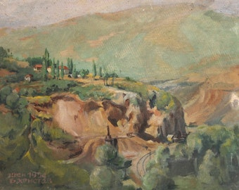 1954 Impressionist landscape oil painting signed