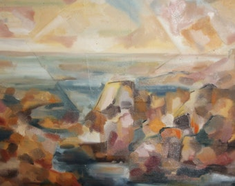 Vintage postimpressionist oil painting landscape