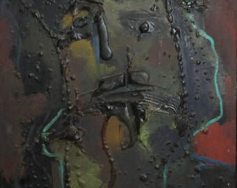 1988 Abstract portrait collage oil painting signed