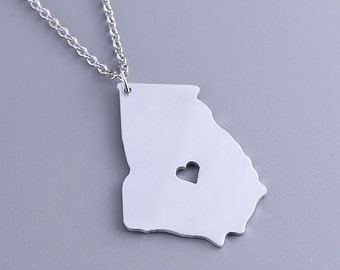 I heart Georgia Necklace - Georgia Pendant - State Charm - Map necklace - Map Jewelry
