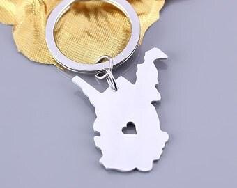 I heart West Virginia keychain - West Virginia keyring - State Charm - Map keychain - Map Jewelry