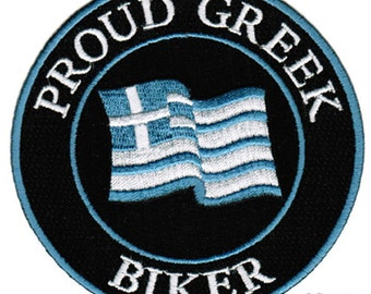 PROUD GREEK BIKER patch embroidered iron-on Greece Flag applique