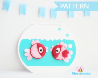 Fish Sewing Pattern - Fish Felt Magnets and fish bowl Sewing pattern  A296 PDF Sewing pattern
