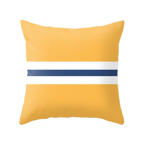 Yellow and navy blue pillow. Nautical decor. Navy blue and