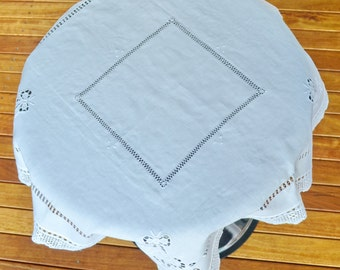 Brand New Vintage Linen Crochet Lace Tablecloth Hand Embroidery,  Coffee Tea Tablecloth Square 36 inch White Shaby Chic Cottage Decor