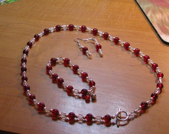Red and clear glass necklace set