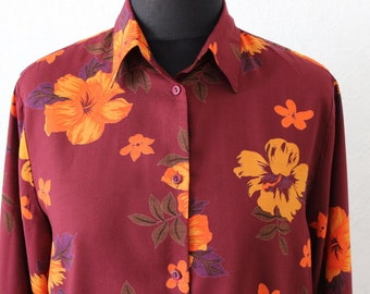 Vintage Womens Shirt  Flowers Blouse Size 42/16/12