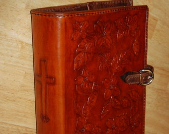 Large tooled leather bible cover with optional buckle closure