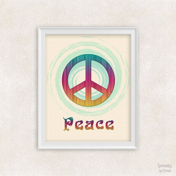 Peace Sign Wall Art Poster Peace Sign Decor 8x10